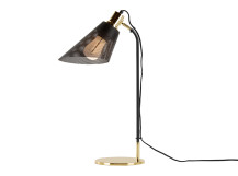 Memoir Table Lamp and Plumen 002 Bulb, Matt Black and Polished Brass