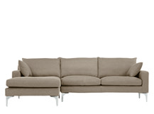 Mendini Left Hand Facing Corner Sofa Group, Soft Taupe