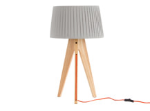 Miller Table Lamp, Natural Wood and Orange
