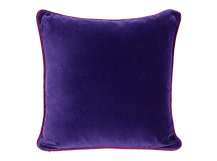 Mya Cotton Velvet Cushion 50cm x 50cm, Purple with Plum Piping