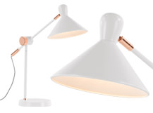 Ogilvy Task Table Lamp, Matt Soft Grey and Copper