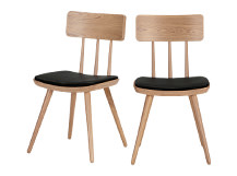 2 x Kitson Dining Chairs, Natural Ash and Black