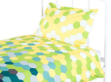 Brights Single 100% Cotton Bed Set, Yellow and Blue