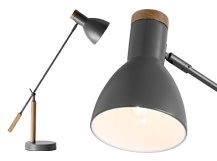 Cohen Table Lamp, Deep Grey and American Oak