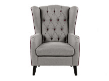 Duke Wingback Armchair, Tweed Grey with Merlot Velvet Trim and Buttons