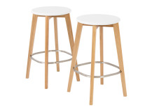 2 x Fjord Bar Stool, Oak and White