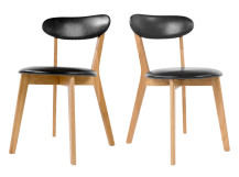 2 x Fjord Dining Chairs, Oak and Black PU