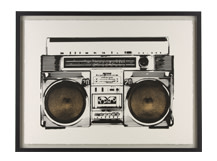 Ghetto Blaster Gilt Print, 55 x 75cm, Limited Edition by Coup D'Esprit, Gold and White