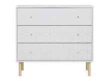 Hedra Chest of Drawers, Grey and Brass