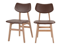 2 x Jacob Dining Chairs, Jasper Brown and Ash