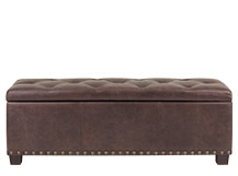 Jeffrey Upholstered Storage Bench, Saddle Brown Premium Leather