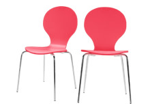 2 x Kitsch Dining Chairs, Raspberry Red