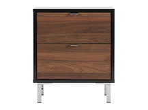 Latymer Bedside Table, Walnut Effect and Black Gloss