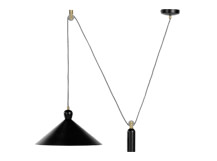 Ogilvy Rise and Fall Pendant, Matt Black and Antique Brass