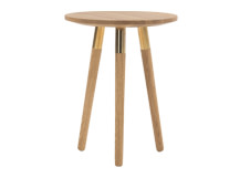 Range Side Table, Solid Oak and Brass