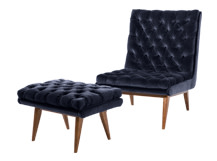 Spectre Armchair with Footstool, Navy Cotton Velvet