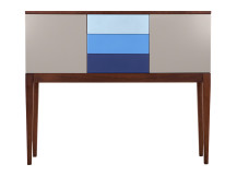 Vernay Cabinet, Dark Stain Ash with Multicolour Blue