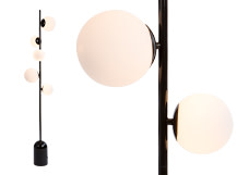 Vetro Floor Lamp, Black and Opal Glass