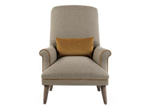 Wilbur Accent Chair, Tweed Wheat with Antique Velvet Trim and Bolster
