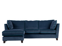 Wolseley Large Corner Sofa, Navy Velvet
