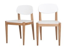 2 x Joseph Dining Chairs, Oak and White