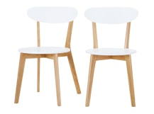 2 x Fjord Dining Chairs, Oak and White