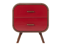 Fonteyn Bedside Table, Walnut and Red