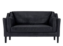 Hendrix 2 Seater Sofa, Black Premium Leather