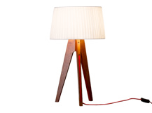 Miller Table Lamp, Walnut and Red