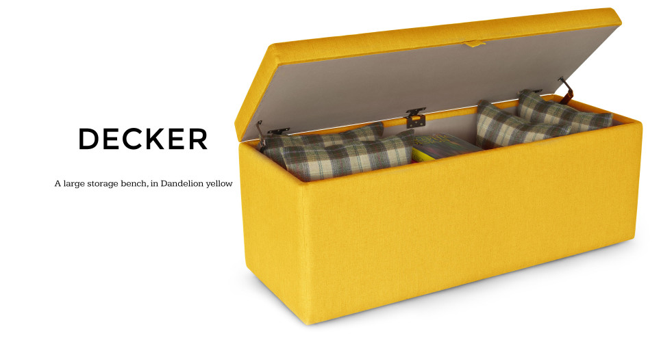 Decker Upholstered Storage Bench In Dandelion Yellow