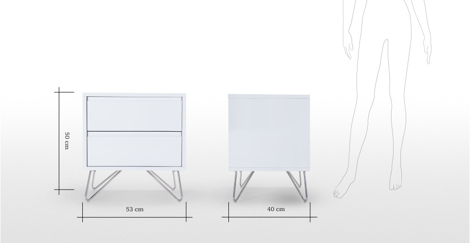 Elona bedside table white gloss for Dimension table de nuit