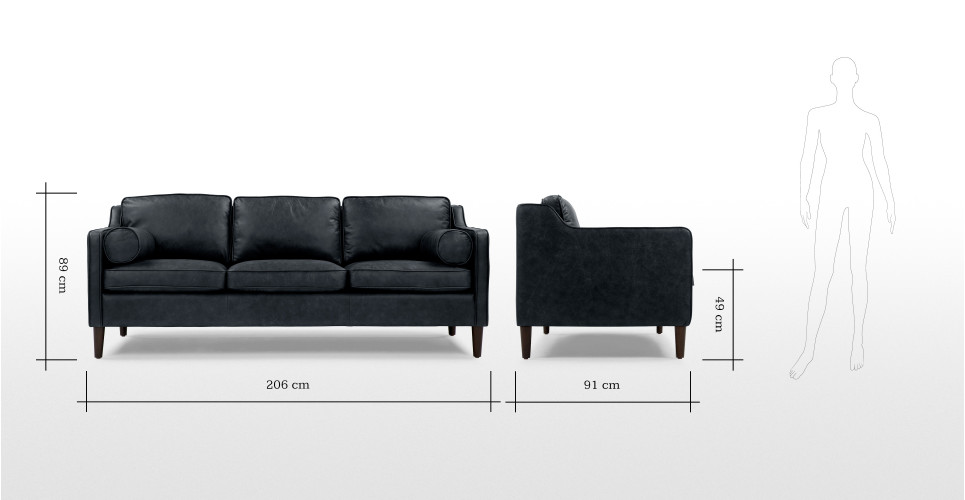 Walken 3 Seater Sofa in black premium leather  made.com