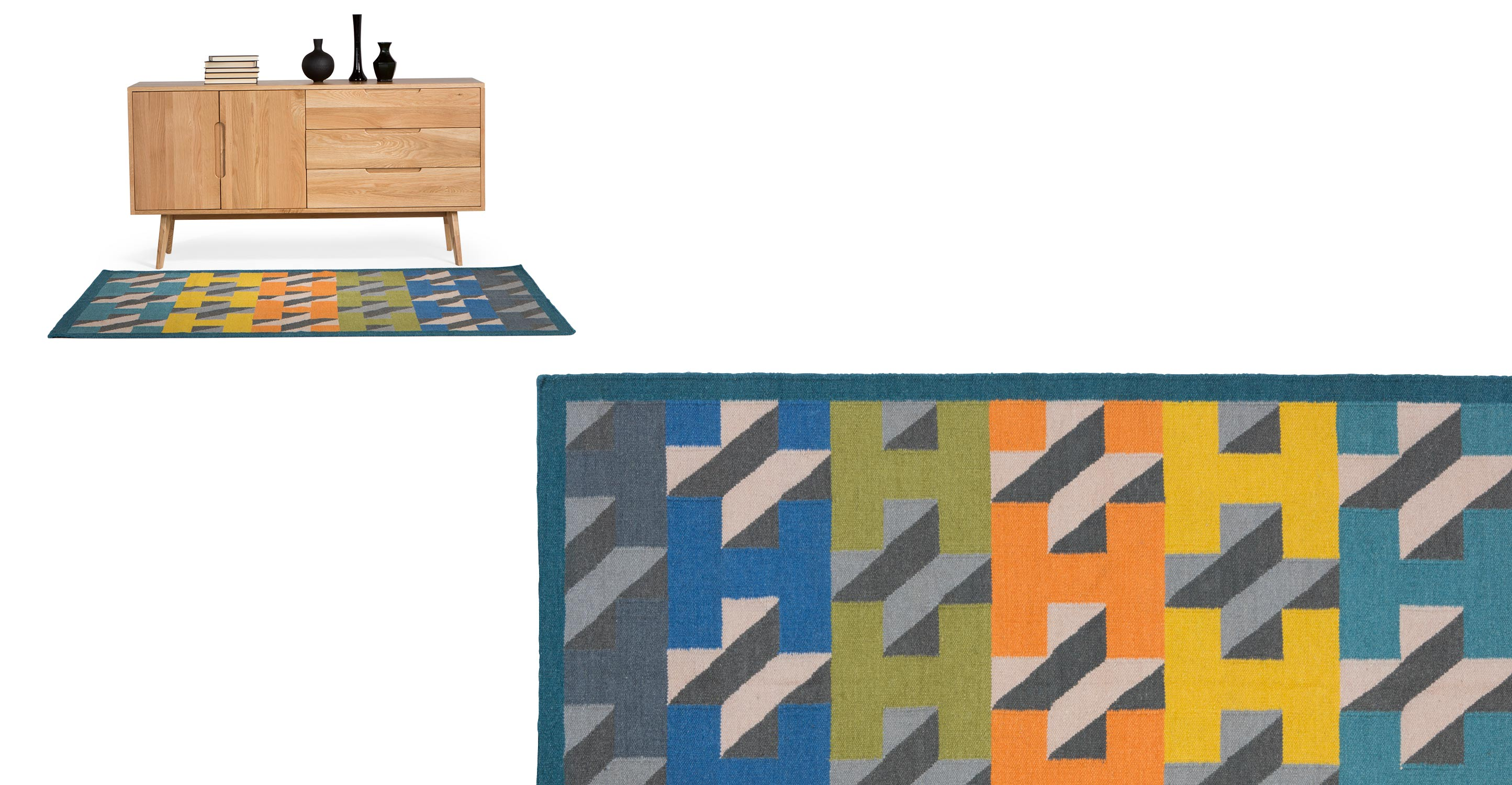 airbrick tapis 120 x 170 cm bleu canard le fait main. Black Bedroom Furniture Sets. Home Design Ideas