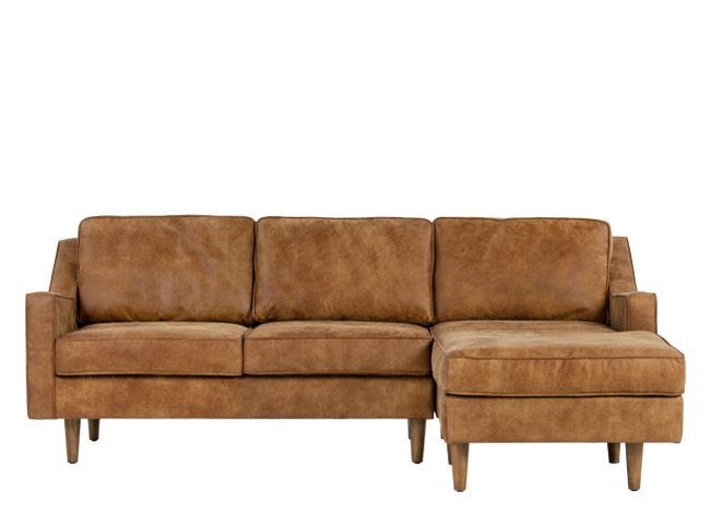 Dallas right hand facing chaise end sofa outback tan for Boston leather chaise end sofa