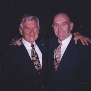 Former prime minister Bob Hawke with Bob Hawke, Old Parliament House volunteer, 1996