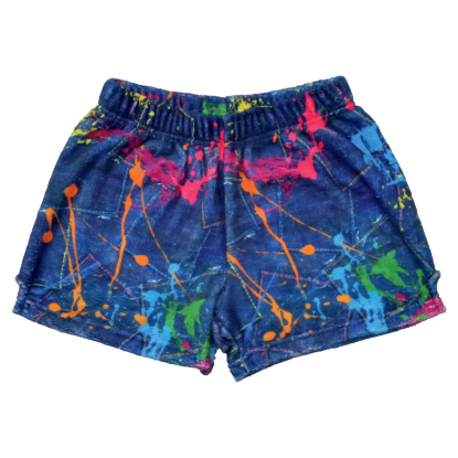 Picture of Paint Splatter Denim Plush Shorts