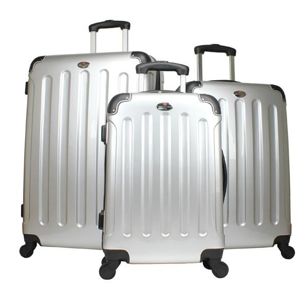 Swiss Case Silver 4 wheel 3pc Hardcase Luggage Set