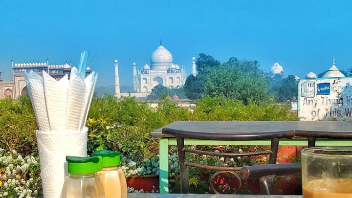 Breakfast with the Taj Mahal (Image uploaded to Reddit by u/Wanderers_diary).