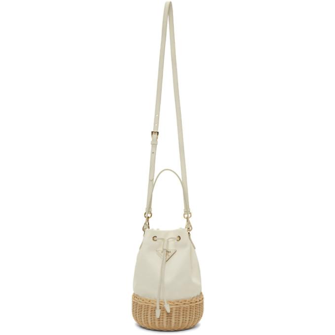 White Raffia Bucket Bag