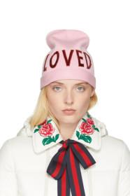 구찌 Gucci Pink Wool Loved Beanie
