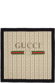 구찌 Gucci Ivory Silk Flowers Scarf