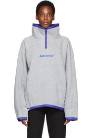 ADER error Grey Fleece Label String Zip-Up Sweater