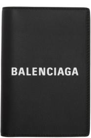 발렌시아가 Balenciaga Black Logo Everyday Passport Holder