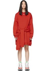 MSGM Red Mini Logo Sweatshirt Dress