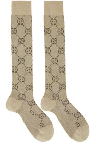 구찌 Gucci Beige & Brown GG Supreme Socks