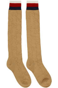 구찌 Gucci Beige Tall Spring GG Socks