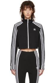 아디다스 Adidas Black Cropped Track Jacket