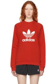 아디다스 Adidas Red Warm-Up Sweatshirt