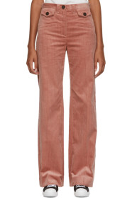 Pink Corduroy Wide-Leg Trousers