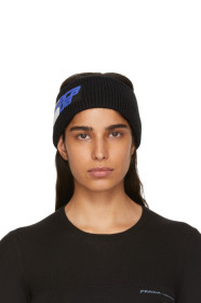 프라다 Prada Black Knit Logo Headband